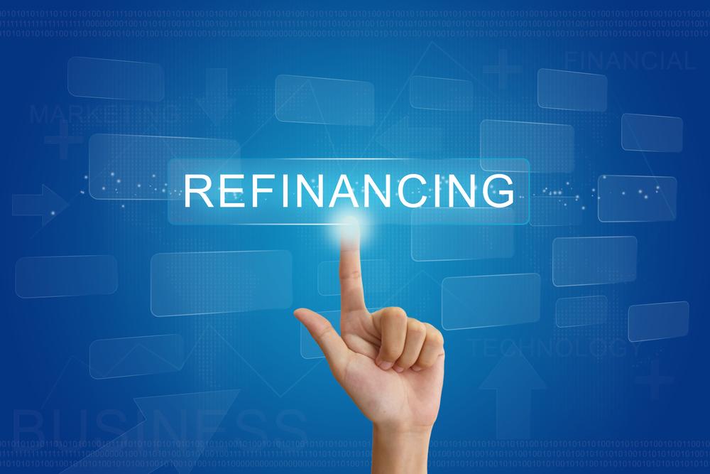 refinancing 'finger' on blue screen (medium)